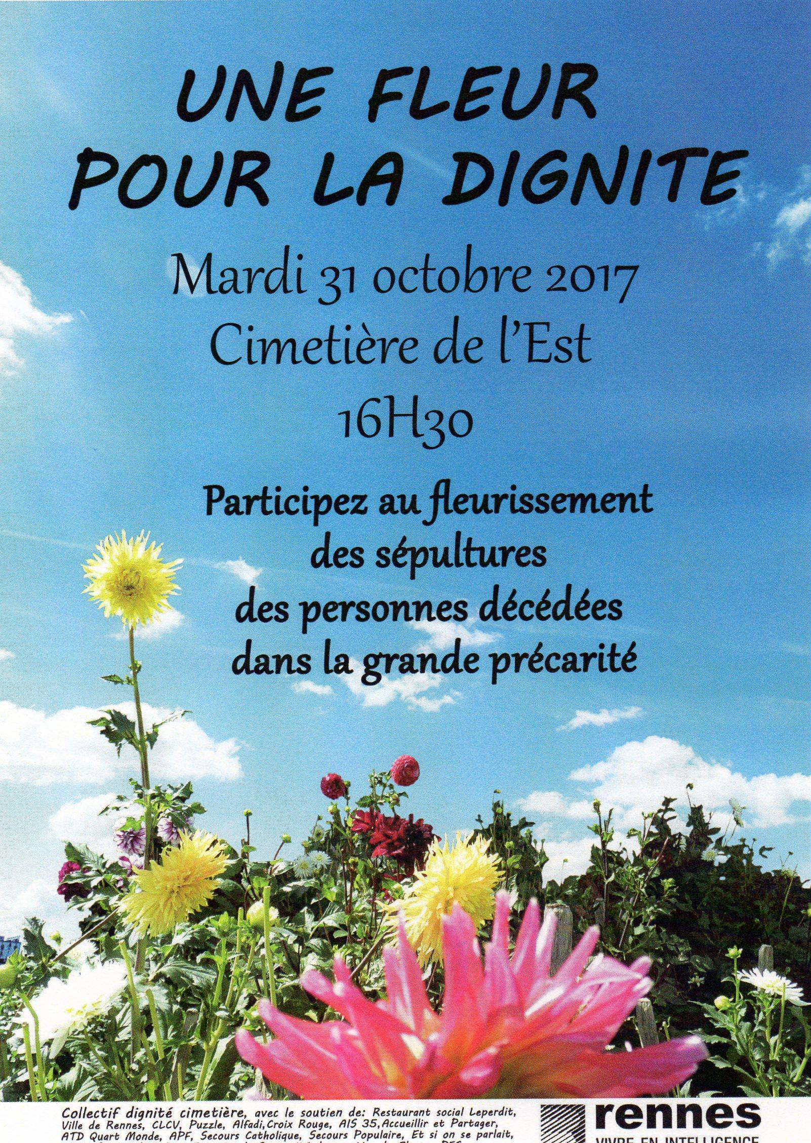 Affiche de l'événement une fleur pour la dignité - 2017